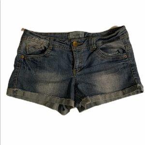 Rewind jean shorts size 13 blue distressed cute